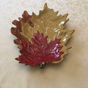 Leaf Design Ceramic Platter